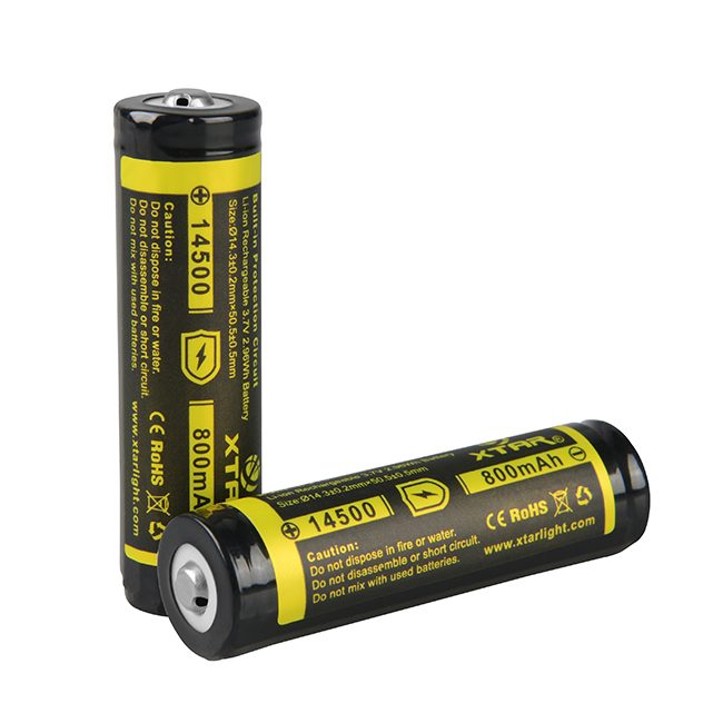 14500 800mAH 3.7V Protected Rechargeable Li-Ion Batteries (2 Batteries) + Universal Battery Charger Combo - Dual slot
