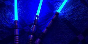 Three Blue Lightsabers