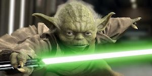 Yoda with Green Lightsaber